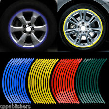 16 STRIPS RED BLUE REFLECTIVE MOTORCYCLE CAR RIM STRIPE DECAL TAPE WHEEL STICKER