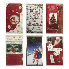 Pack of 9 Traditional Kids Assorted Christmas Glitter Money Wallet Envelopes