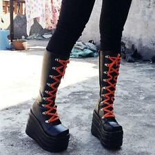 Womens Gothic Cosplay Lace Up High Platform Chunky Heels Knee High Boots pumps