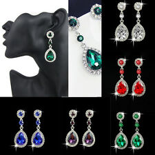 Vintage Elegant Women Crystal Drop Dangle Rhinestone Ear Stud Earrings Jewelry