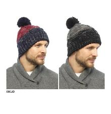 TOM FRANKS MEN'S BUBBLE POM POM WINTER WOOLLY KNITTED TWO TONE BEANIE HAT GL383