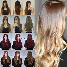 Women Ladies Fashion Ombre Two Tone Synthetic Hair Full Head Wig With Bangs Long