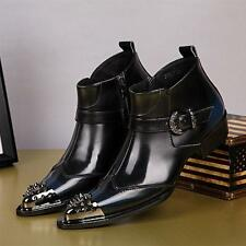 Mens Motor Ankle Boot Metal Leather Punk High Top Studded Pointed Toe Shoes V139