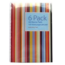 A6 Memo Notepads (Pack of 6) - Padded - Each book is 50 sheets=100 pages