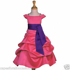 FUCHSIA PINK CHRISTMAS FLOWER GIRL DRESS SPAGHETTI STRAP 2 2T 4 5 6 7 8 10 12 14