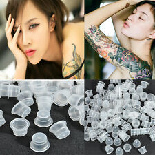 200pcs transparent Clear White Plastic Tattoo Ink Cups Caps Holder Supplies tool
