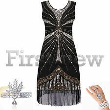 1920's Flapper Dress Vintage Gatsby Charleston Deco Sequin Fringed Party Costume