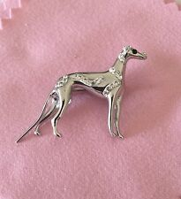 3D Crystal Greyhound Dog Brooch by Zedelle Jewellery-Animals