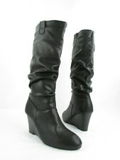 NEW Rampage Swift1 Black Slip ON Wedge Knee High Boots