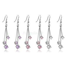 Fashion Crystal Rhinestone Long Dangle Three Bars Earrings Stud Jewelry