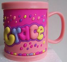 Girl Childrens 3D Personalised Name Plastic Cup/Mug New GRACE