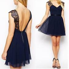 Sexy Women Dress Sleeveless Evening Party Backless cocktail Fashion Lace Dresses