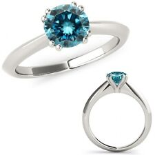 1.25 Carat Blue Diamond Double Prong Solitaire Beautiful Ring 14K White Gold