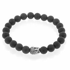 EDFORCE Stainless Steel Silver-Tone Buddha Beaded Stretch Mens Bracelet
