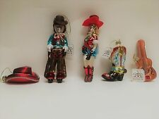 BB Ranch Western Theme Holiday Christmas Blown Glass Ornaments Choose from 5-NWT