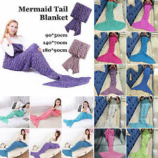 Adult & Kids Mermaid Tail Handmade Crocheted Cocoon Sofa Knit Rug Quilt Blankets