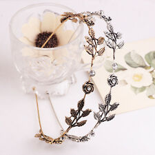 Women Rhinestone Flower Leaf Head Chain Jewelry Headband Hair Band