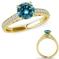 1.5 Ct Blue Diamond Anniversary Solitaire Ring Eternity Band 14K Yellow Gold