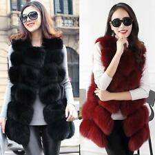 UK Womens Ladies Sleeveless Faux Fur Coat Gilet Vest Waistcoat Long Shrug Jacket