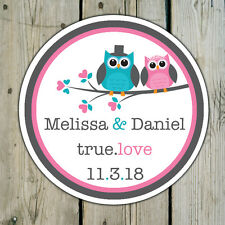 Round Custom Owl Favor Stickers Labels - Wedding Shower Personalized