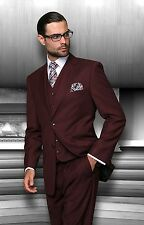 BRAND NEW BURGUNDY MENS 3PC 2 BUTTON SUIT,VESTED & PLEATED PANTS