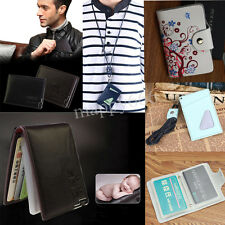 Leather Credit Card Holder Mens Womens Bifold Wallet Driver's License Cover Safe