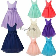 Flower Girl Princess Chiffon Party Dress Gown Formal Wedding Bridesmaid Dresses
