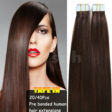 """4A+ 16""""-24"""" Straight Long Tape In Skin Weft Human Hair Extensions US Sale I337"""