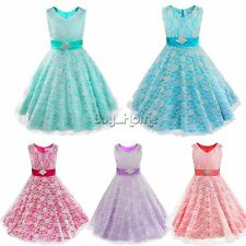 NEW Flower Girl Lace Princess Party Dress Gown Formal Wedding Bridesmaid Dresses