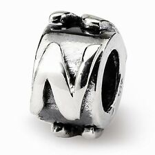 Sterling Silver Reflections Raised Letter Bead for Bead Bracelets