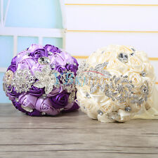 2 Colors Wedding Flowers Bridal Bouquet Pearls Brooch Crystal Ceremony Ornaments