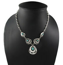 """16"""" Bear Paw Track Pendant Chain 925 Sterling Silver Necklace Tribal"""