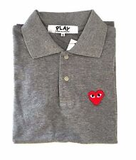 CDG PLAY Comme des Garcons Gray Polo T-Shirt FREE SHIPPING