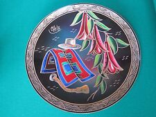 Vintage Enamel on Hammered Copper Chilean Chile Hand Painted Hanging Plate Dish