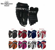 "Powertek V5.0 Hockey Gloves! Senior SR Junior JR 11"" 12"" 13"" 14"" 15"" All Colors"