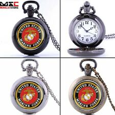 United States Marine Corps Mens Antique Pocket Watch Chain Quartz Pendant Gift