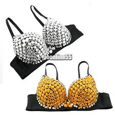 Women's Bead Rhinestone Embellished Underwear Bra B/ C Cup Belly Dance EA9