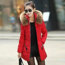 Women's Raccoon Collar Hooded Slim Cutting Winter Warm Feather Down Coat Parka