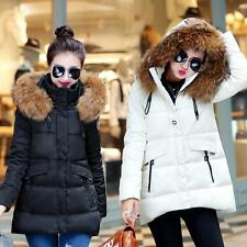 Women's Raccoon Collar Hooded Zipper Winter Warm Feather Down Coat Jacket Parka