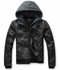 Mens Pu leather Jacket  hooded Coat Slim fit winter motorcycle outwear parka New