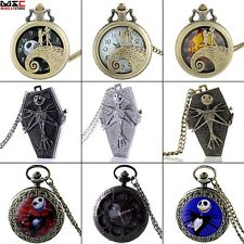 Watch Nightmare Before Christmas Quartz Pocket Pendant Necklace Chain Mens Gift