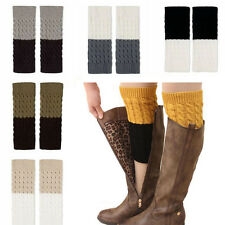 Fashion Contrast Double Color Knit Boot Cuffs Toppers Cashmere Leg Knee Warmers