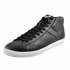 Pony Topstar Hi Mens Premium Leather Hi Top Trainers Black White