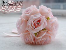 Crystal Pink/Red/White Bridesmaid Bouquets Brooch Roses Flowers Wedding Bouquets