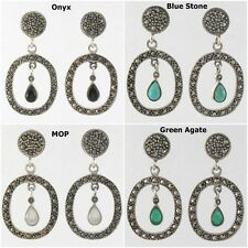 Stone Circle Oval Marcasite 925 Sterling Silver Drop Earrings