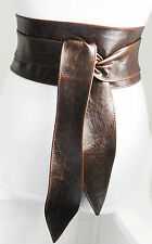 Vintage Brown Obi Belt Real Leather | Wide Belt | Corset Waist Belt | Plus Size
