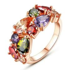 Ladies Fashion Jewelry Colorful Crystals Bridal Wedding Ring Rose Gold US 6-9
