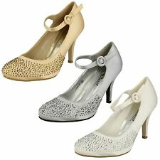 Ladies Anne Michelle Heeled Party Shoe With Diamante Detail