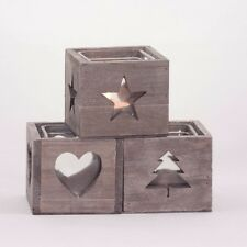 Grey wooden tealight holder cube with glass insert, Christmas tree/star/heart
