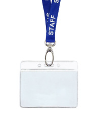 Blue STAFF ID Lanyard Neck Strap Metal Clip & Horizontal Badge Card Holder Pouch
